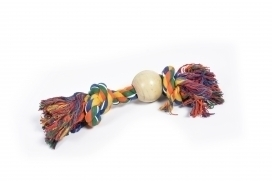 DOGTOY TUG TOY KNOTTED ROPE + RUBBER BALL 38CM