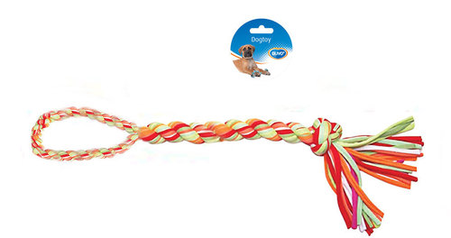 DOGTOY TUG TOY KNOTTED COTTON/ACRYL BRAID LOOP 60CM mixed colors