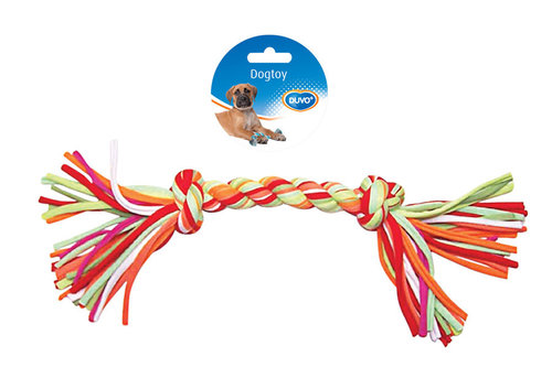 DOGTOY TUG TOY KNOTTED COTTON/ACRYL 2 KNOTS 33CM mixed colors