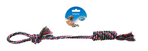 DOGTOY TUG TOY KNOTTED COTTON LOOP 48CM mixed colors