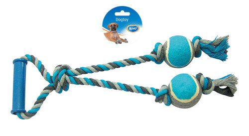 DOGTOY TUG TOY KNOTTED COTTON LOOP TENNIS BALL 2X 43CM grey/blue
