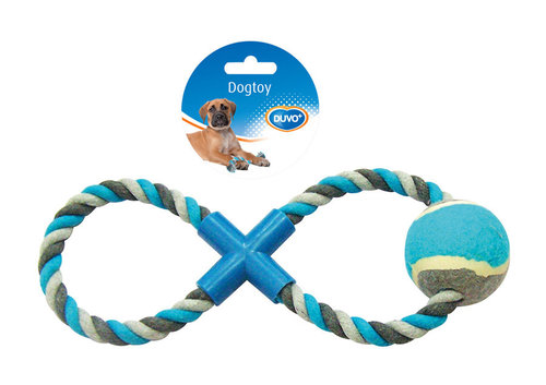 DOGTOY KNOTTED COTTON 8-PULL RING TENNIS BALL 28CM grey/blue
