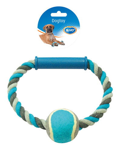 DOGTOY KNOTTED COTTON O-PULL RING TENNIS BALL 18CM grey/blue
