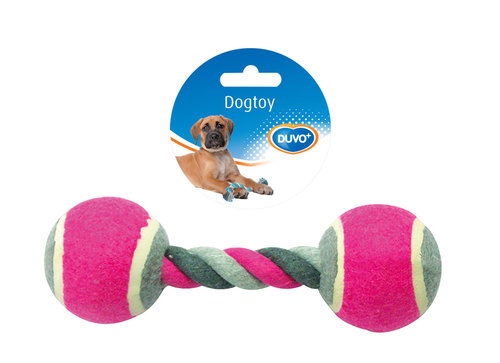 DOGTOY TUG TOY KNOTTED COTTON TENNIS BALL 2X 18CM mixed colors