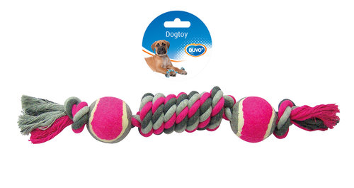 DOGTOY TUG TOY KNOTTED COTTON DUMMY TENNIS BALL 2X 38CM grey/pink