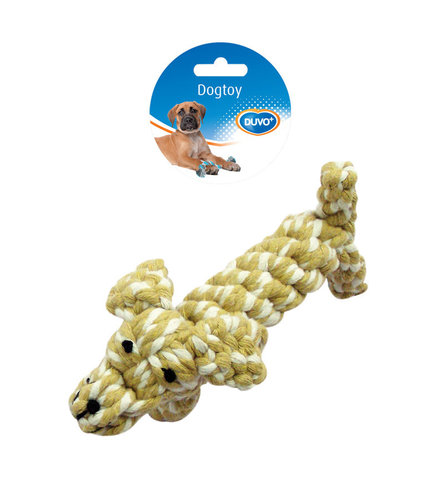 DOGTOY TUG TOY KNOTTED COTTON DOG 17CM brown/white