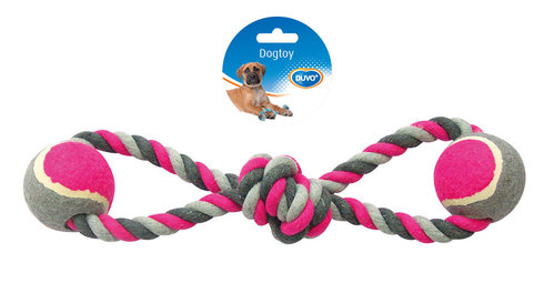 DOGTOY KNOTTED COTTON 8-PULL RING TENNIS BALL 2X 38CM grey/pink