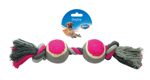 DOGTOY TUG TOY KNOTTED COTTON 2 KNOTS TENNIS BALL 2X 33CM grey/pink