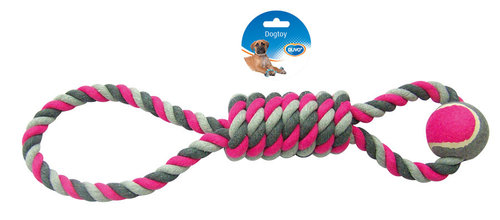 DOGTOY TUG TOY KNOTTED COTTON PENDULUM TENNIS BALL 53CM grey/pink