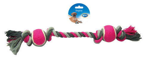 DOGTOY TUG TOY KNOTTED COTTON 4 KNOTS TENNIS BALL 2X 50CM grey/pink