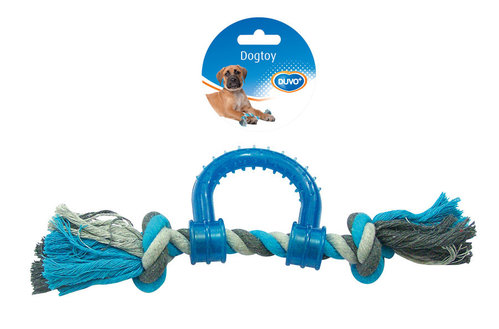DOGTOY TUG TOY KNOTTED COTTON PULL RING PLASTIC 30CM grey/blue