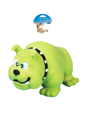 DOGTOY LATEX SQUAWKY BULLDOG 11,5CM green