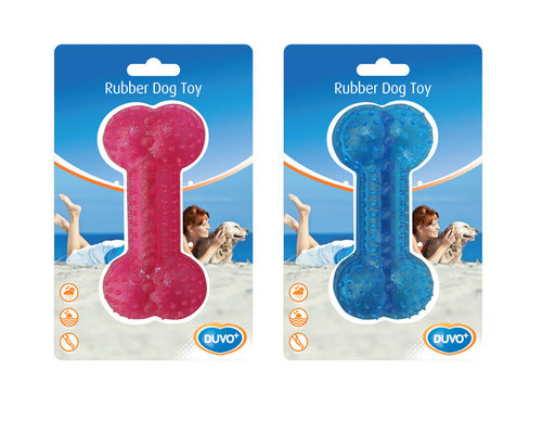 DOGTOY TPR BONE TREAT DISPENSER 12CM blue/pink