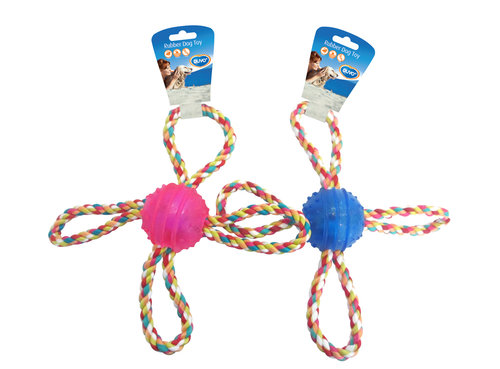 DOGTOY TPR BALL WITH ROPE 4 HANDLE 27CM blue/pink