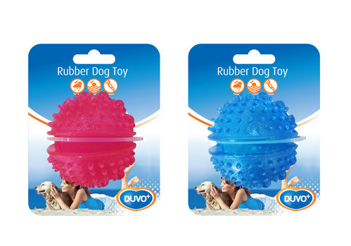 DOGTOY TPR BALL TREAT DISPENSER 7CM blue/pink