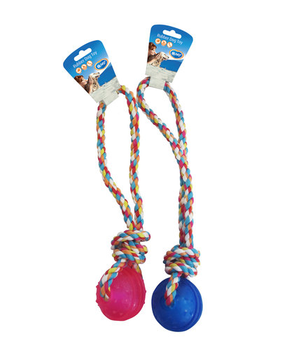 DOGTOY TPR BALL WITH ROPE HANDLE 37CM blue/pink