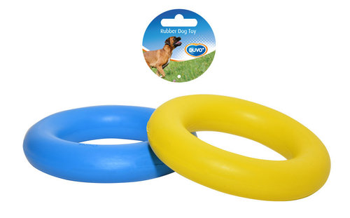 DOGTOY RUBBER RING 14CM blue/yellow