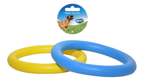 DOGTOY RUBBER RING 8,8CM blue/yellow