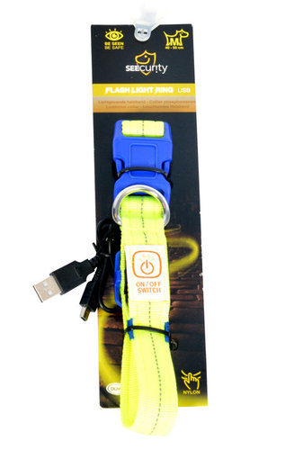 SEECURITY COLLAR NYLON USB FLASH LIGHT 40-55cm/2,5cm neon yellow