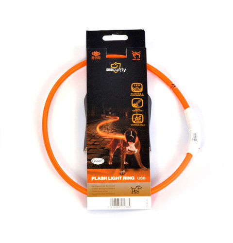 SEECURITY RING FLASH LIGHT USB NYLON 45cm orange