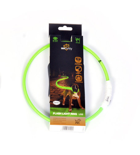 SEECURITY RING FLASH LIGHT USB NYLON 45cm green