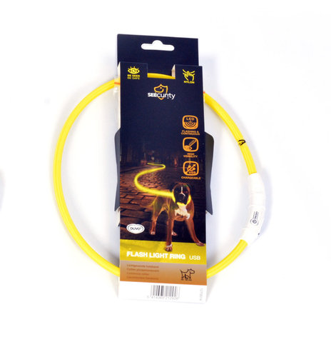 SEECURITY RING FLASH LIGHT USB NYLON 45cm yellow