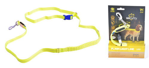 SEECURITY JOGGER LEASH  LED USB 200cm/2,5cm neon yellow
